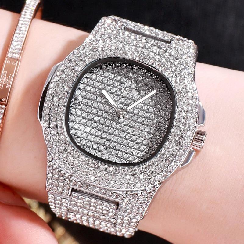 Gold Three-color Quartz Watch Dial 40mm Fashion Round Starry Set Steel Belt Rhinestone Women Clock Ladies Watches No Logo XX2716