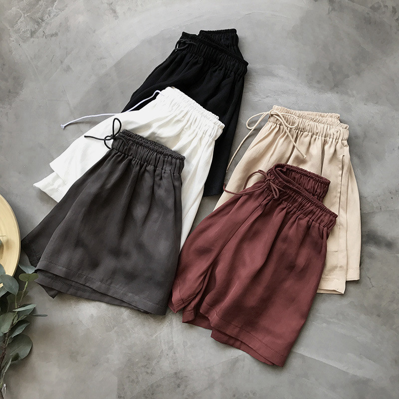 New Summer Boho Hot   Shorts   Women Plus Size Elastic High Waist   Shorts   Feminino Lace Up BF   Short   Women Beach Wide Leg   Shorts   C4390