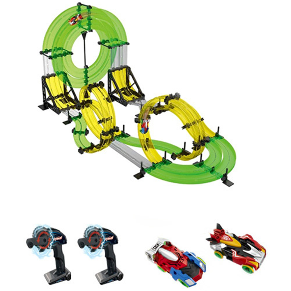 Hot Sales Toy Vehicles 2 RC Cars With 2 Hand Cranks 48pcs Track Piece Dual Track 3D Competition Infrared Model Car Kids Xmas