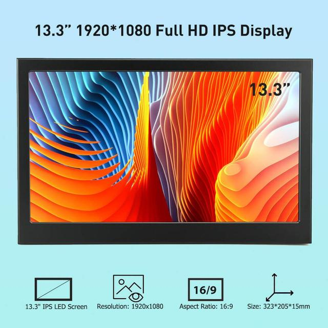 Elecrow 13.3 inch 1080P IPS Portable LED Display Dual HDMI Screen Computor Monitor for Raspberry Pi PS3 PS4 XBOX Gaming Devices