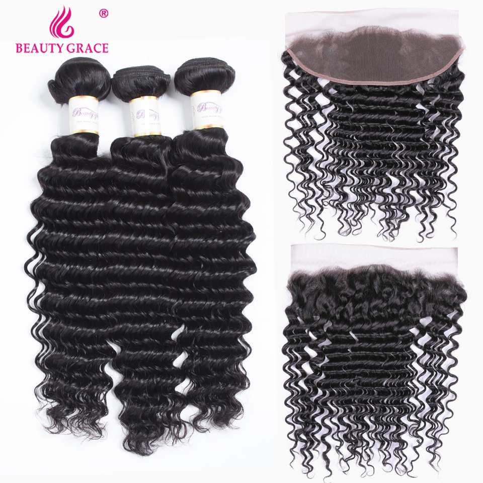 Beauty Grace Deep Wave Bundles With Frontal Human Hair Extension Non Remy Brazilian Hair Weave Lace Frontal Closure With Bundles