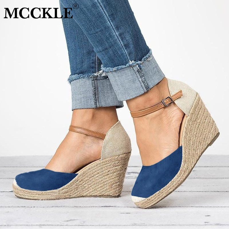 MCCKLE High Heels For Women Autumn Wedges Sandals Platform Woman Buckle Strap Shoes Fashion Suede Party Wedding Gladiator Shoe akexiya 2017 suede gladiator sandals platform wedges summer creepers casual buckle shoes woman sexy fashion high heels