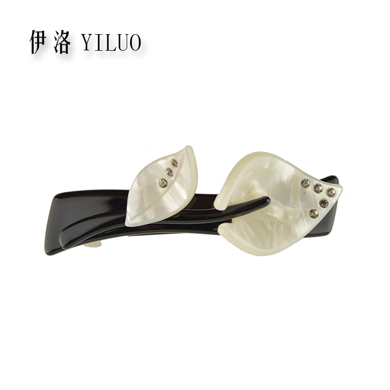 Women headwear acetate cute hair clip small leaf hair barrette rhinestone hair accessories for girls