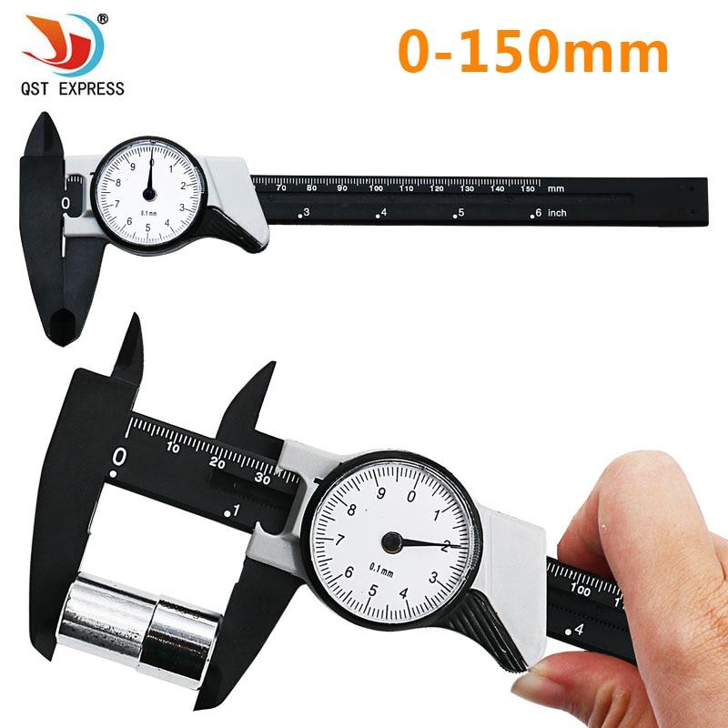 Dial Caliper 0-150mm / 0.1 Shockproof plastic Vernier Caliper Metric Micrometer Gauge Measuring Tool QSTEXPRESS