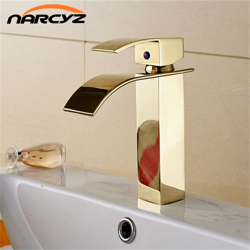 Bathroom Waterfall Basin Faucets Golden Finish Mixer Taps Single Hole Deck Mounted Sink Faucet Torneira Banheiro XT823 luxury wall mounted bathroom basin faucet single handle golden finish sink mixer