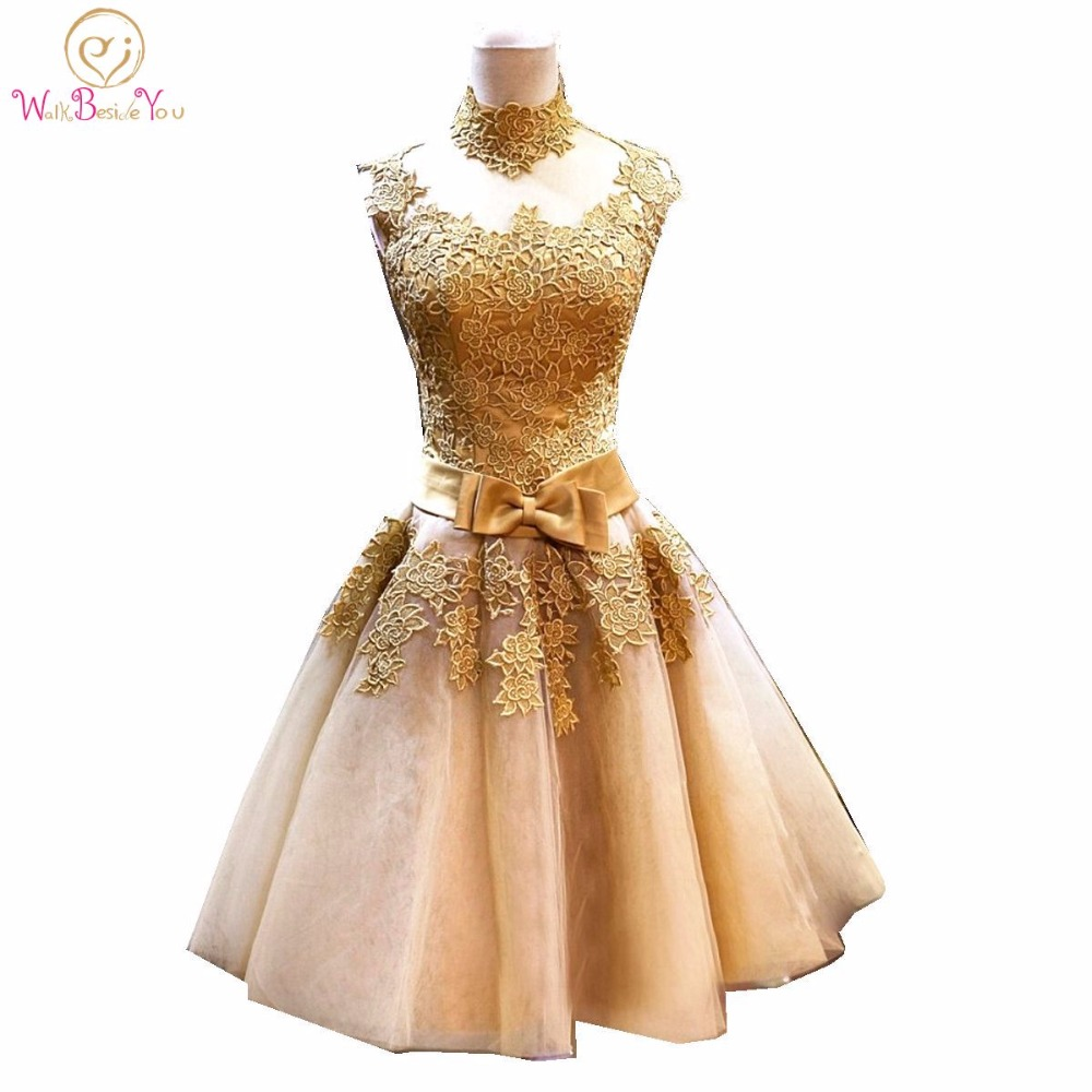 100 Real Images Gold Cocktail Dress Party Lace Dresses High Neck A line Short Party Formal