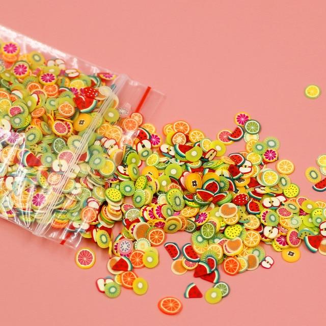 New Soft cerâmica 1000 pcs fatias da Fruta Enchimento Para Nails Art Tips Slime slime de Frutas Para As Crianças DIY Acessórios Suprimentos decoração