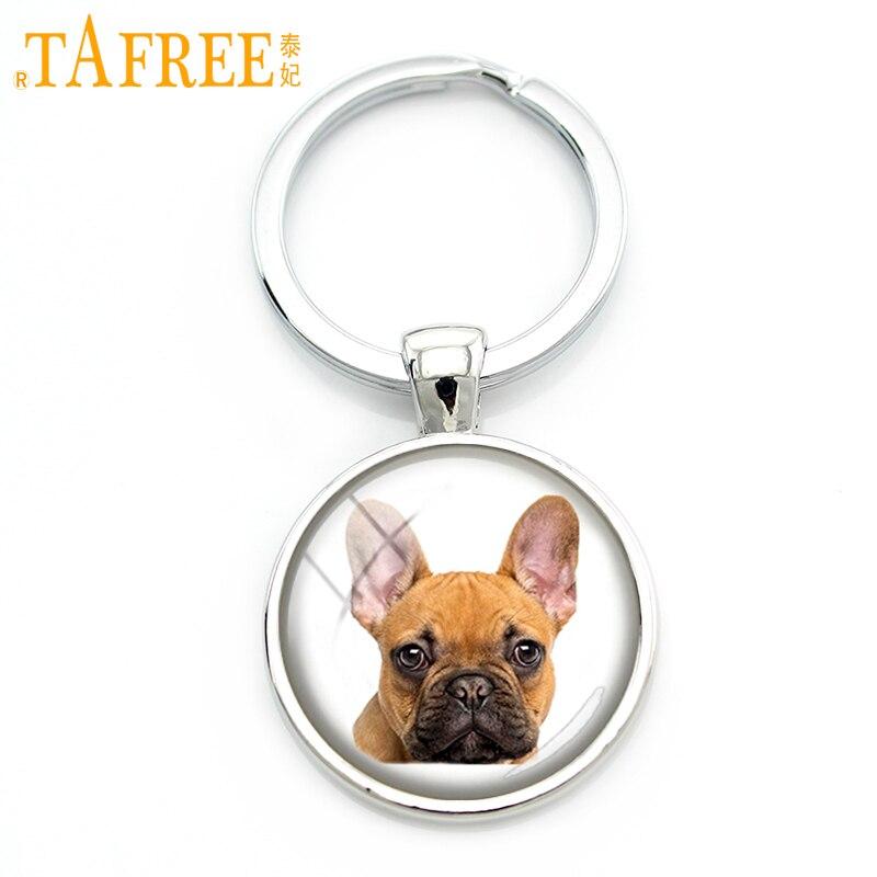 TAFREE Agile Dog Keychain French Bulldog Cocker Spaniel Look Like Cute Cuddly Key Chain Round Glass Men Women Jewelry DG25