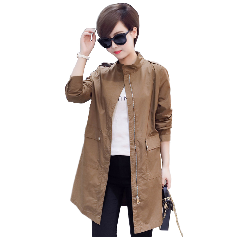 2019 New spring Autumn Women Long   Trench   Coats Plus Size Solid Windbreaker Street Fashion Baseball Casual Outwear NW1112