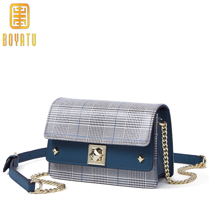 купить Women Messenger Bags Designer Small Flap Handbag Women Split Leather Shoulder Bag Crossbody for Lady Fashion Plaid Purse Sac по цене 2600.9 рублей