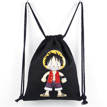 New Hot 2017 Anime School Bags One Piece Drawstring Bag Canvas Luffy Bookbag Chirdren Teenagers Backpack Men Women Shoulder Bag