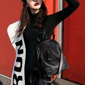 Image 5 - Nesitu Highend Koffie Rood Grijs Zwart Lederen Vrouwen Rugzak Vrouwelijke Meisje Rugzakken Dame Reistas Schoudertassen # m007