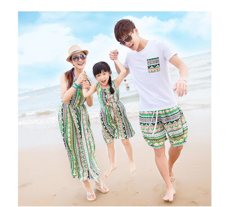 tonlinker Family Matching Outfits summer beach bohemian T-shirt Outfits Mother Daughter Cotton Dresses Father Son Baby Boy Girl