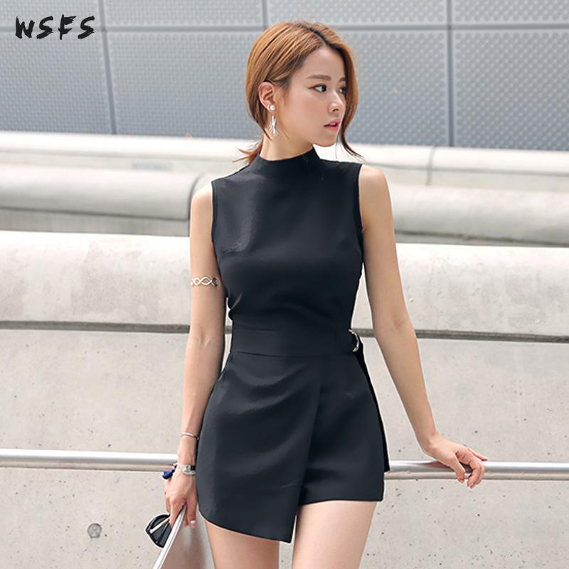 435dffbde0c Summer Black Sleeveless Bodysuit Oneck Wide Leg Asymmetrical Jumpsuit  Womens Elegant Sexy Party Office Overalls Body Feminino