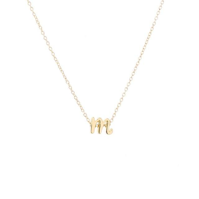 New fashion letter necklaces pendants alphabet tiny initial new fashion letter necklaces pendants alphabet tiny initial necklace women girls personalized name jewelry mozeypictures Images
