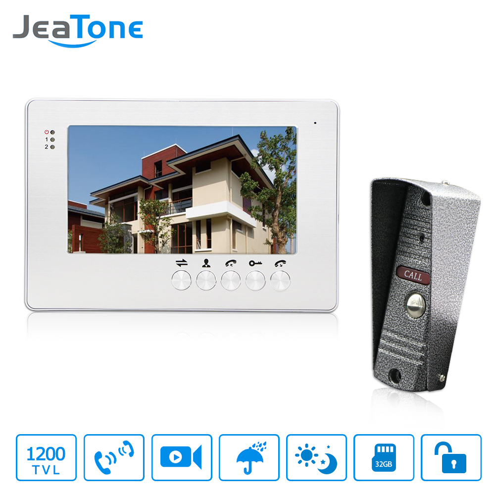 JeaTone 7 TFT Wired Video Intercom Doorbell Waterproof Door Phone Outdoor Camera Monitor Video Door Phone System Home Security jeatone 4 inch tft wired video door phone intercom doorbell home security camera system picture memory