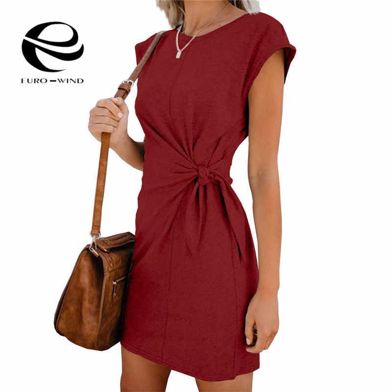 בתוספת גודל 2XL 2019 חדש אופנה נשים Loose עגול O-צוואר שמלת שרוול קצר מוצק צבע מזדמן קשת שמלת קיץ שמלה vestidos