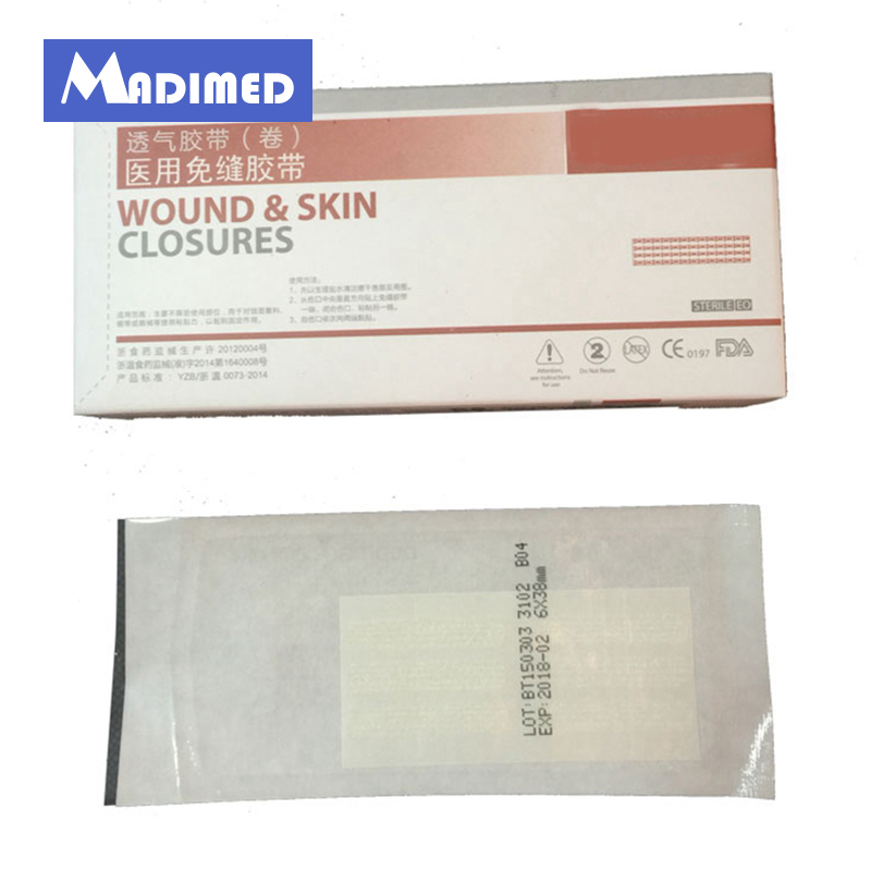MADIMED 6 38mm 6Srips Bag 50 Bags Box Sterile Wound Skin Closure Strip Tape For Surgical