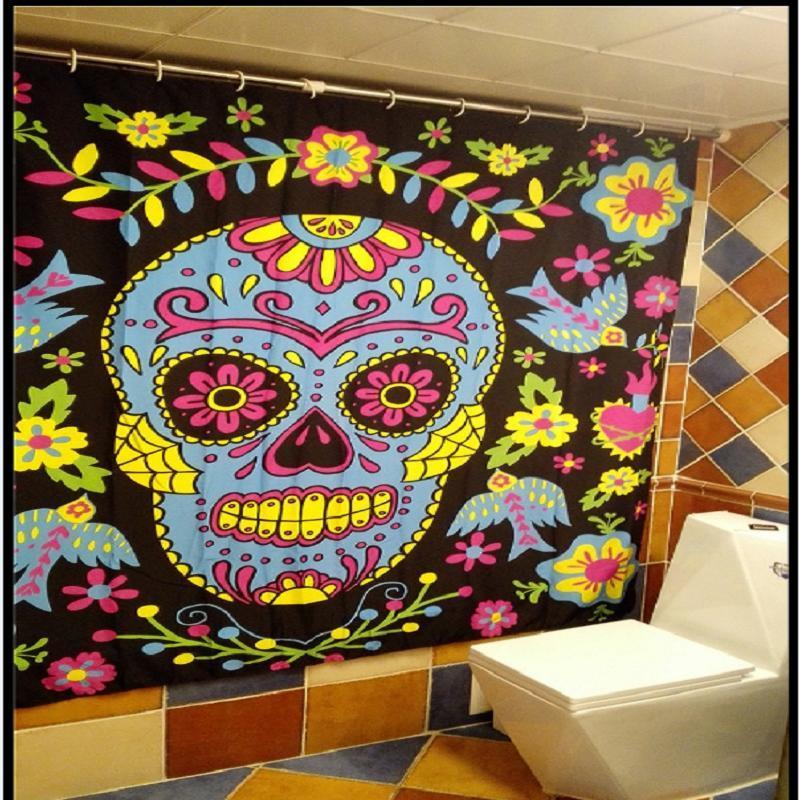Cartoon Bathroom Waterproof Polyester Fabric Shower Curtains Creative Tattoo & Skull Sailor Bettys Pattern Bath Curtains YL05