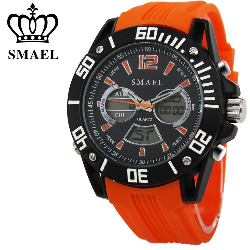 Prix pour Grand Cadran SMAEL Sport Montre Hommes Mode Étanche Casual Montre LED Numérique Quartz Hommes Montre-Bracelet Réveil relogio masculino WS1035
