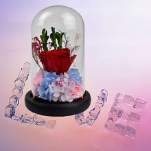 Forever Love Gift Preserved Fresh Rose In Glass Dome with wooden base Artificial Flowers Decoration