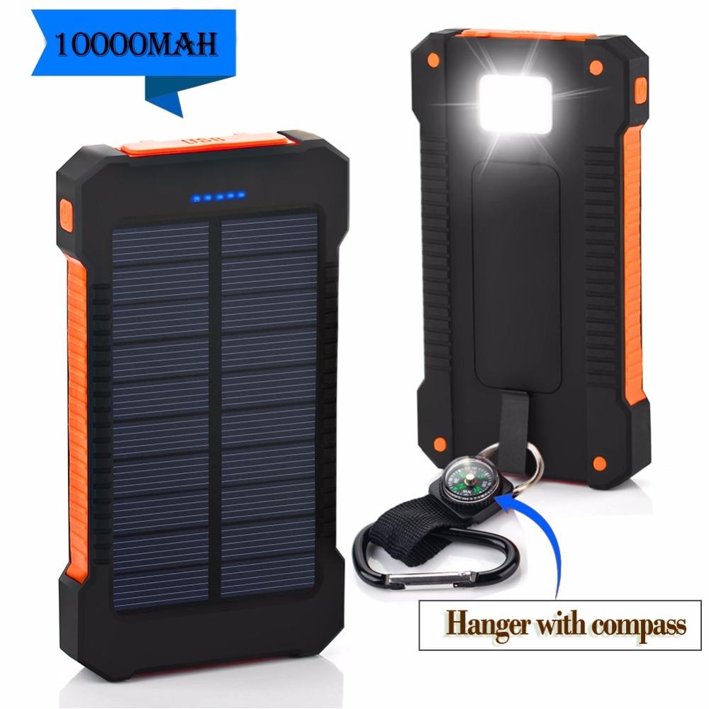 Nueva impermeable de energía Solar 10000 mah Dual USB de polímero Li-polímero cargador de batería Solar de energía con un brújula de luz LED
