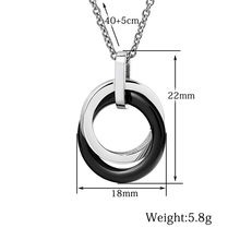 Black/White Double Circle Ceramic Necklace