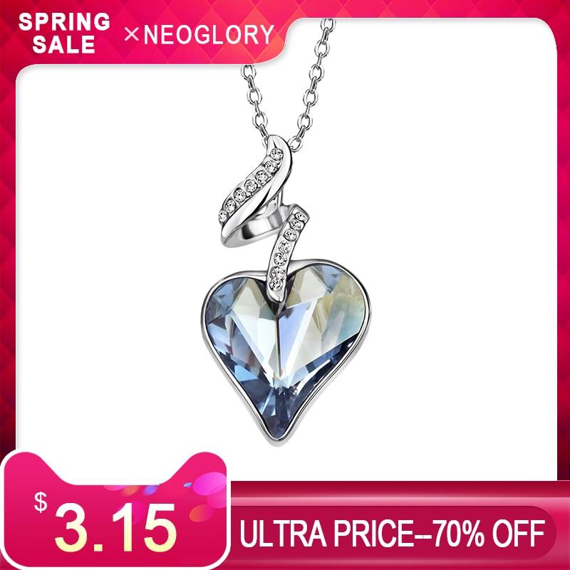 Neoglory Austrija kristal i češki vještački dijamant ljubav srce - Modni nakit