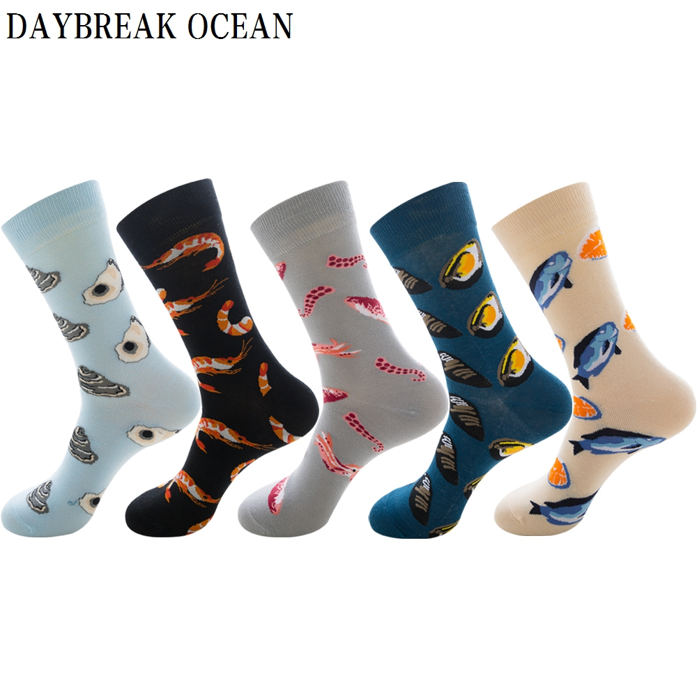 Fashion Seafood Pattern Cotton Crew Socks Oysters Shrimp Octopus Abalone Codfish Casual Funny Novelty Harajuku Winter Men Socks