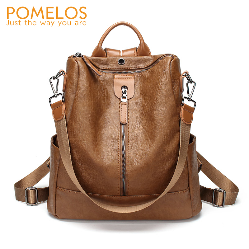 POMELOS Soft Leather Women Backpack Anti Theft Brand New Back Pack Girls High Quality Backpacks Female Fashion Travel Backpack pomelos backpack female designer new women leather backpack anti theft high quality soft back pack casual backpacks school bags