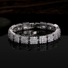 Luxurious square zircon bracelet & bangle bridal wedding jewelry bracelets accessories for women