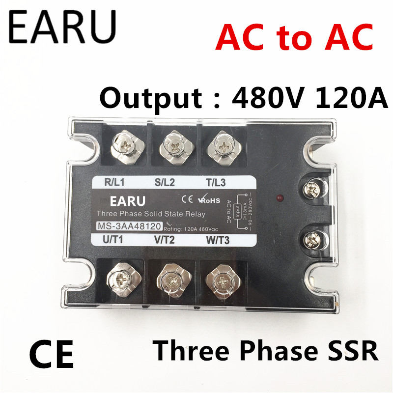 TSR-120AA SSR-120AA Three Phase Solid State Relay AC90-280V Input Control AC 30~480V Output Load 120A 3 Phase SSR Power AA48120