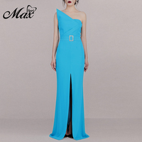 Max Spri 2019 New Elegant Asymmetrical Neckline Sexy Strapless Women Party Fashion Gown Buckle With Sashes Front Slit Maxi Dress
