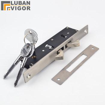 Stal nierdzewna przesuwne drzwi Pull gate DoubleHook lock Stealth lock oprawione szkło drzwi krzyż klucz mocne trwałe okucia do drzwi tanie i dobre opinie TRPZNZ Hook248 Szczotkowane Drzwi wewnętrzne STAINLESS STEEL