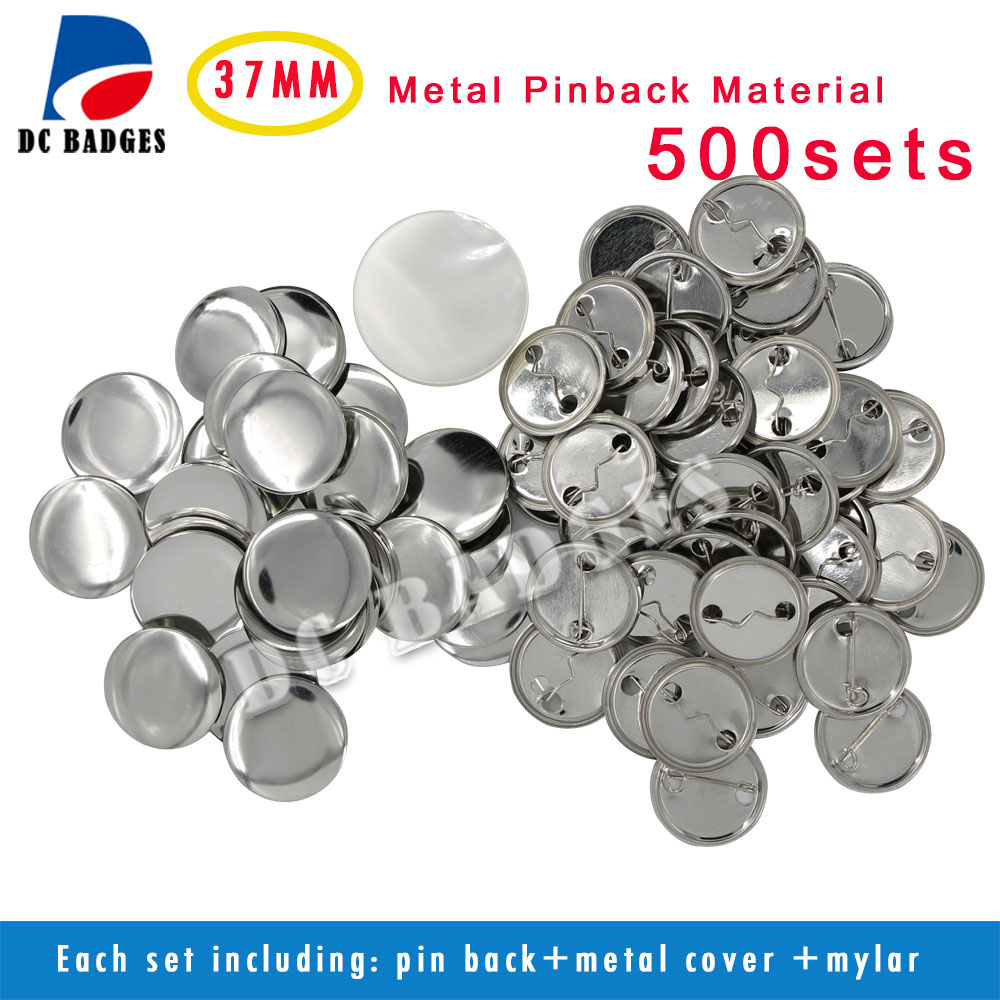 factory hot selling 2 50mm 500sets metal pinback badge button material Factory Hot Sale 1.5 37mm 500sets All Metal Pinback Badge Button Material Supplier