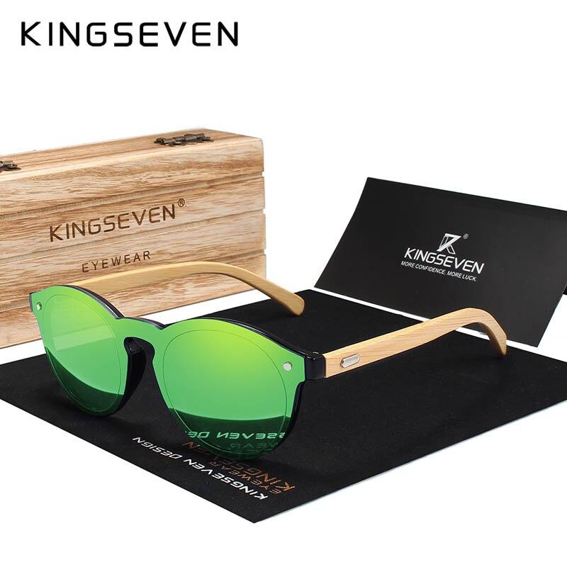 KINGSEVEN Sunglasses Men Bamboo Sun Glasses Women Brand Designer Original Wood Glasses Oculos de sol masculino 8