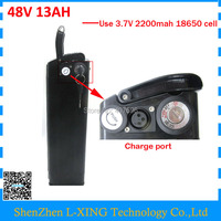 Free Customs Duty 48v 13ah Lithium Ion Battery With USB Connector Black Case Bottom Discharge 54