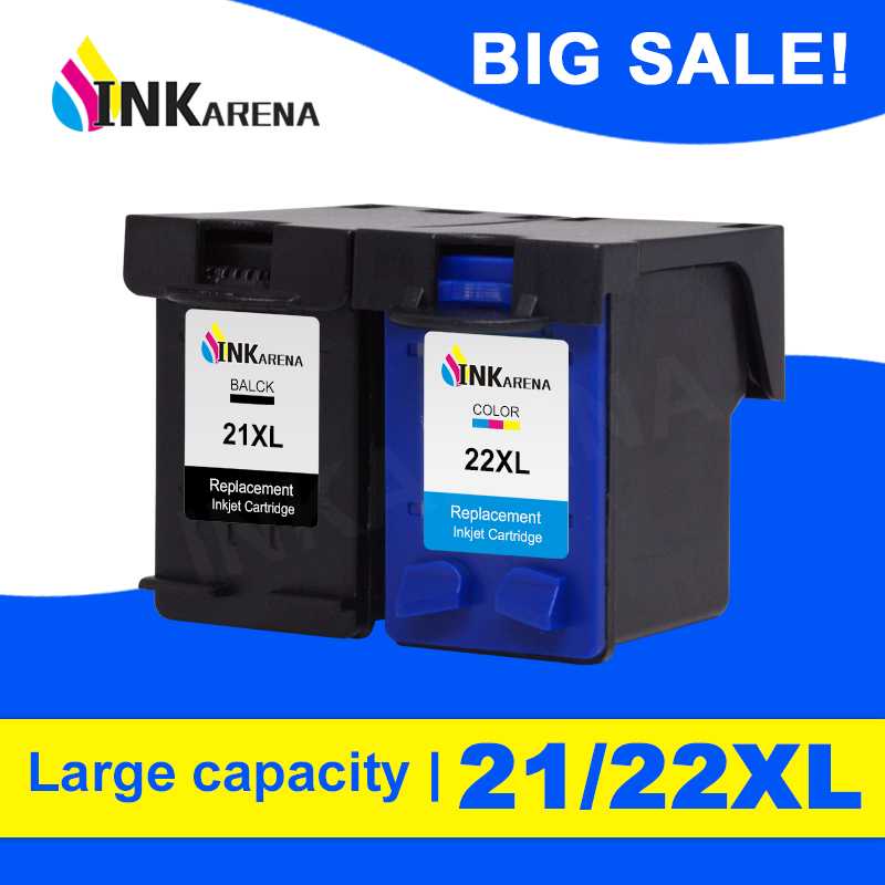 INKARENA <font><b>21</b></font> 22XL Refilled Ink <font><b>Cartridge</b></font> Replacement for <font><b>HP</b></font> <font><b>21</b></font> <font><b>22</b></font> <font><b>Cartridge</b></font> Deskjet 3915 3920 D1320 F2100 F2280 F4180 Printer Ink image