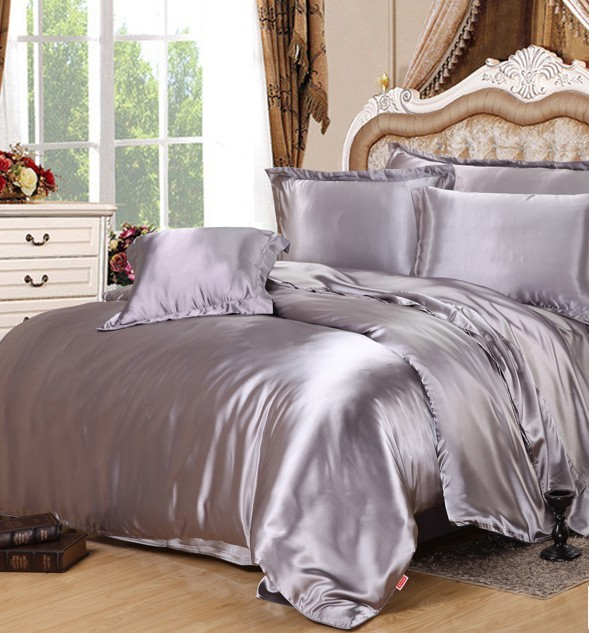 Silver Silk Comforter sets Grey Satin Bedding set sheets duvet cover bed in a bag sheet quilt King Queen size Twin double 5PCS