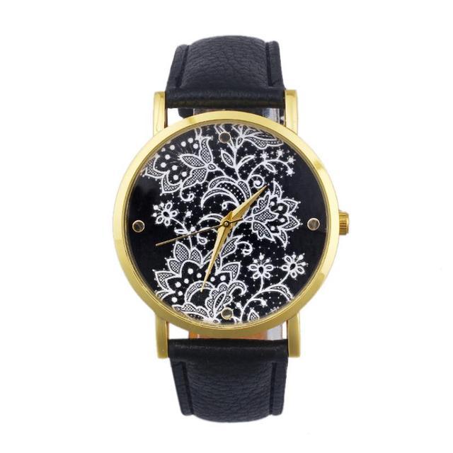 Fashion Watches women Quartz Watches PU Leather Flower Print Women Casual Wristw