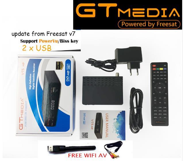 5PCS GT MEDIA Freesat gtmedia v7s DVB S2 Satellite Receiver Full 1080P Receptor PowerVu Biss WiFi