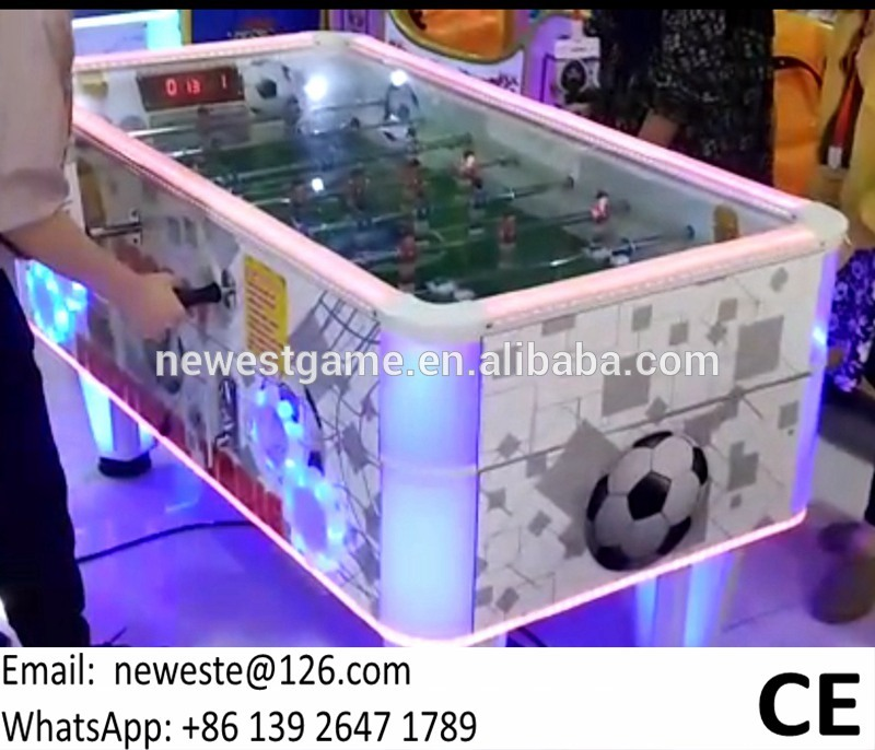 White Color Coin Operated Soccer Football Table Redemption Tickets Arcade Game Machine