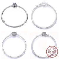 Moments Sterling 925 Silver Pave Heart Clasp Beads Charms Bracelets Pandora Bangle Open Design Original Women