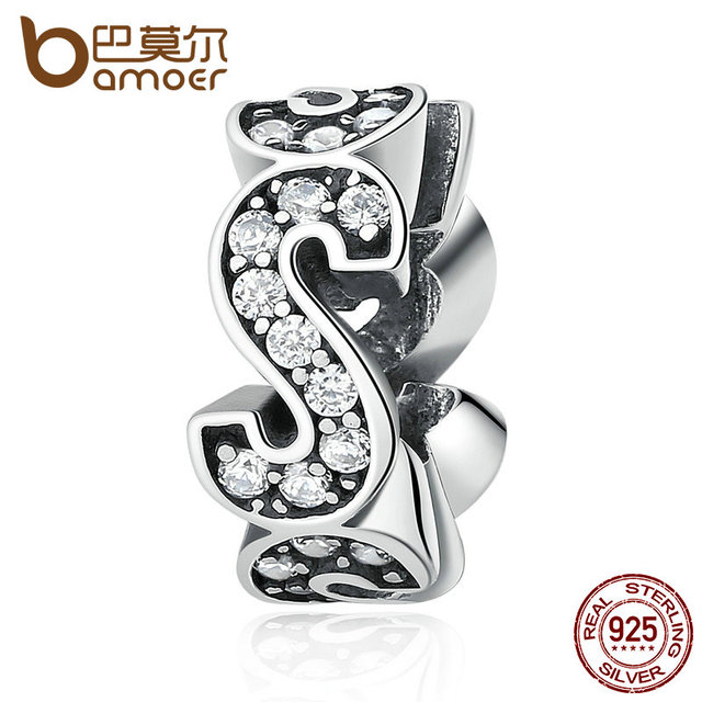 "Sterling Silver Spacer ""S"" Charm"