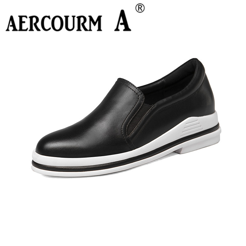Aercourm A Women Genuine Leather Shoes Platform Flats 2017 New Spring Boots Woman Shoes Female Low Cut Casuals Lady Shoes H837 hot 2016 new ggdb women shoes golden goose superstar genuine leather blue casual shoes men women sport flats low cut g23d122 p1