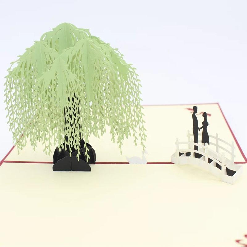 New creative 3D willow paper-cut three-dimensional greeting cards  teacher, festival birthday 30pcs in one postcard take a walk on the go dubai arab emirates christmas postcards greeting birthday message cards 10 2x14 2cm