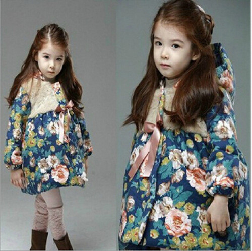 2016 winter fashion new Kids Children clothing cotton hooded Girls coat jacket Floral