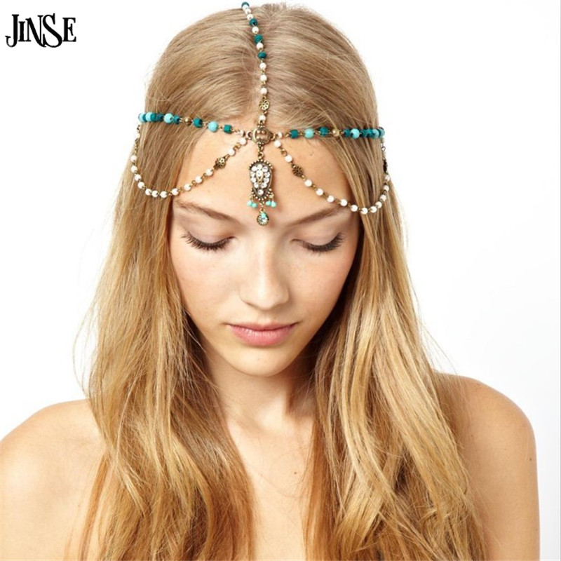 JINSE Romantic Indian tiara Forehead Crown Crystal Head Hair Jewelry Zinc Alloy Tassel Blue Stone Pearl Head Chain CR112