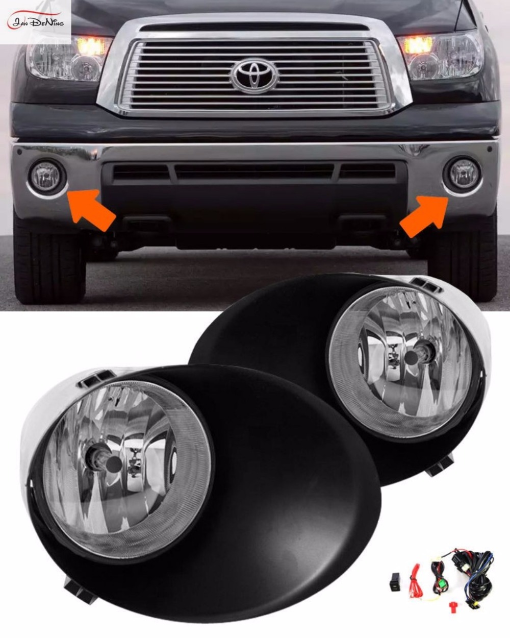 JanDeNing Car Fog Lights For 2007-2011 Toyota TundraOEM Clear Front Fog Lights Bumper Lamps Kit (one Pair) free shipping fog light set fog lights lamp for toyota vios 2013 on clear lens pair set wiring kit