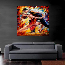 100%Handpainted Abstract Lovers Tango Knife Oil Painting On Canvas Thick Oil Painting Wall Picture For Home Decor As Best Gift